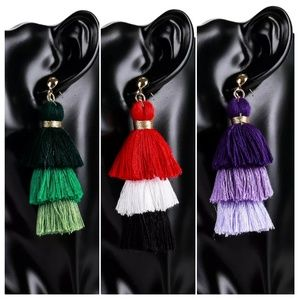 Jewelry - 50%OFF Bohemian Tassel Fringe Stud Dangle Earrings